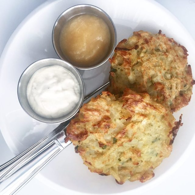 Recipe testing potato fritters for breakfast with homemade cashew sourhellip
